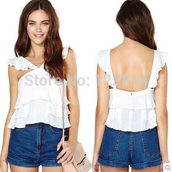 ICIKJG2 Fashion Casual Spring Summer New Sexy Women White Chiffon Sleeveless Ruffles Loose Backless Spaghetti Straps Blouse Top D397