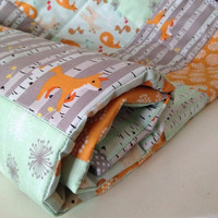 cot quilt~ crib quilt~ baby blanket~ crib blanket~ cot blanket~ woodland creatures~ woodland nursery~ mint and orange~ baby gifts~ fox quilt