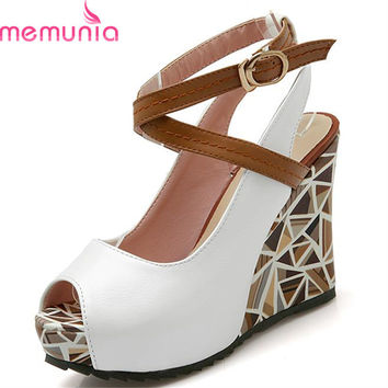 MEMUNIA 2017 wedges high heels women sandals platform slingback casual shoes woman summer peep toe female lady shoes