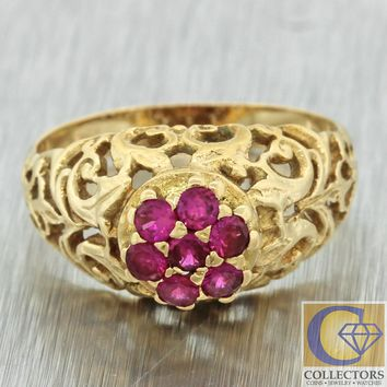 1880s Antique Victorian 18k Gold 0.25ct Ruby Filigree Cluster Band Ring