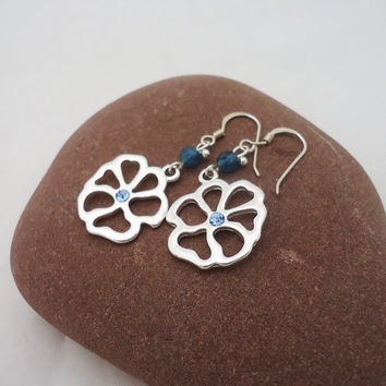 Blue Crystal Earrings, Flower Earrings, Dangle Crystal Earrings, Handmade Earrings