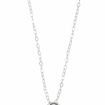 Floating Diamond Silver Necklace