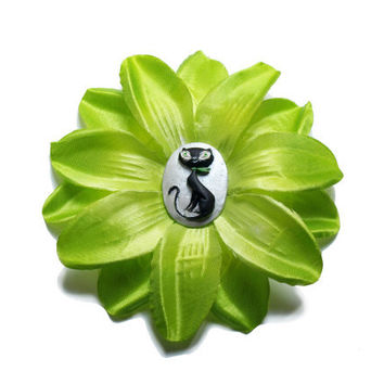 Light Green Summer flower with Black Cat hair clip