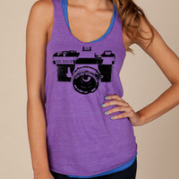 Camera OH SNAP Girls Ladies Heathered Tank Top Shirt silkscreen screenprint Alternative Apparel