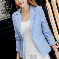 Fashon Women Coat long-sleeved Ladies Small Blazer feminino 2016 New Solid color One button jacket suits
