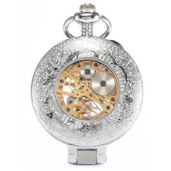Antique Silver Classic Blue Magnifying Case Pocket Watch