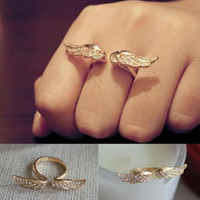 Resizable 18k Gold Plated Alloy Unique Punk Gothic Angel Wings Ring Full Crystal Rhinestone Animal Rings B10R1