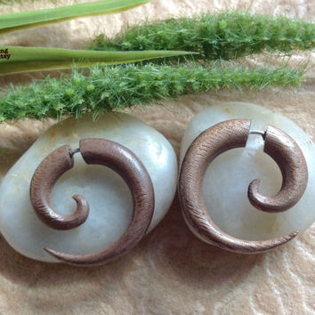 "Fake Gauge Earrings, ""Small Spiral"" Naturally Organic, Walnut, Hand Carved, Tribal"
