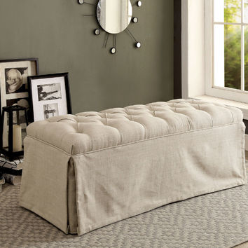CM3342BN-BG Payson III beige fabric love seat bedroom entry bench