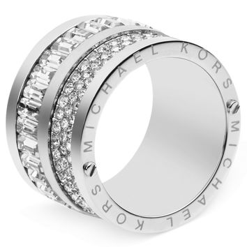 Michael Kors Ring, Silver-Tone Pave and Baguette Crystal Barrel Ring - Michael Kors - Jewelry & Watches - Macy's