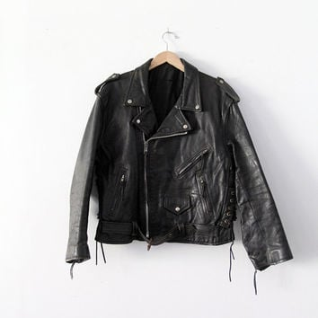 SALE vintage motorcycle jacket / 70s black leather jacket