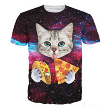 Blue Eyed Cat Eating Taco and Pizza in Space T-Shirt