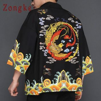 Trendy Zongke Chinese Kimono Cardigan Men Phoenix Print Long Kimono Cardigan Men Black Open Stitch Male Kimono Jacket Men 2018 AT_94_13