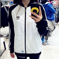 ADIDAS Clover Bear Shirts Baseball Wear Jackets Couples Casual Sportswear Jackets Black white