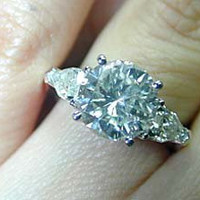2.70ct Round Diamond & Pear Shape Engagement Ring 18kt 900,000 GIA certified diamonds JEWELFORME BLUE