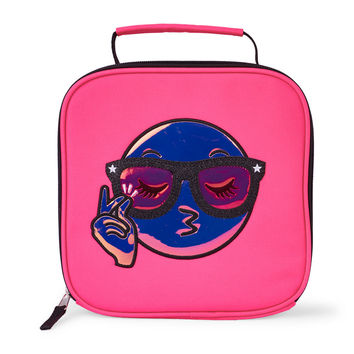 Girls Glitter Emoji Face Neon Lunch Box | The Children's Place