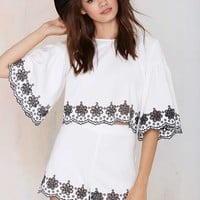 Glamorous Wynette Embroidered Eyelet Top