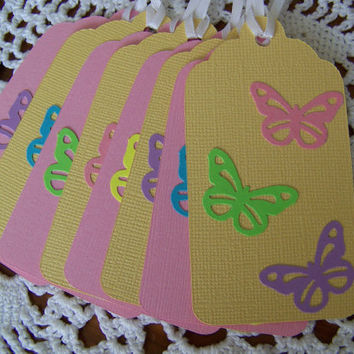 Butterfly Gift Tags Pink and Yellow Pastel Baby Shower Girls Birthday Party - Set of 8