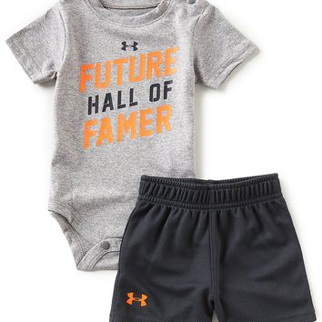 Under Armour Baby Boys Newborn-12 Montrhs Short-Sleeve Future Hall Of Famer Bodysuit & Shorts Set | Dillards
