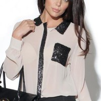 Cream Long Sleeve Blouse with Black Sequin Detail