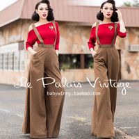 FREE SHIPPING Le Palais Vintage 2015 New Autumn Winter Limited Edition Brown High Waist Thin Wide Leg Romper Women Long Pants