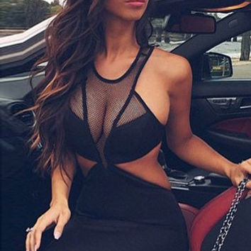 Black Cutout Mesh Yoke Club Dress