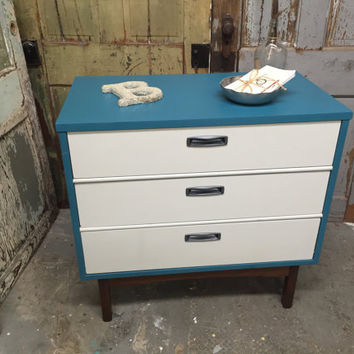 Mid Century Modern Nightstand painted blue for ...