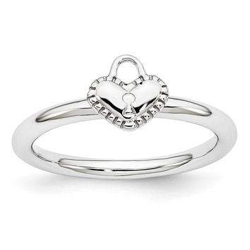 Rhodium Plated Sterling Silver Stackable 7mm Heart Padlock Ring