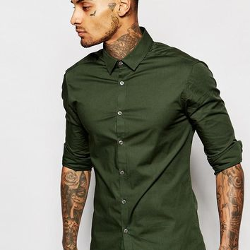 ASOS | ASOS Skinny Fit Shirt In Khaki With Long Sleeves at ASOS
