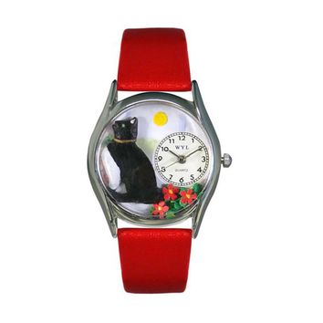 Basking Cat Red Leather And Silvertone Watch