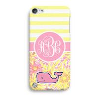 Yellow Stripes Sun Kissed Flower Custom Inspired Lilly Pulitzer Vineyard Vines iPod Touch 5 Case, iTouch 4 Case