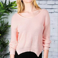 Pink Long-Sleeve Pullover Knitted Shirt