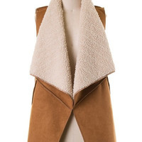 Faux Suede Shearling Tunic Vest - Camel