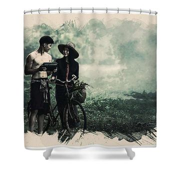 Watercolor Conseptual Landscape - Deep In The Forest - Shower Curtain