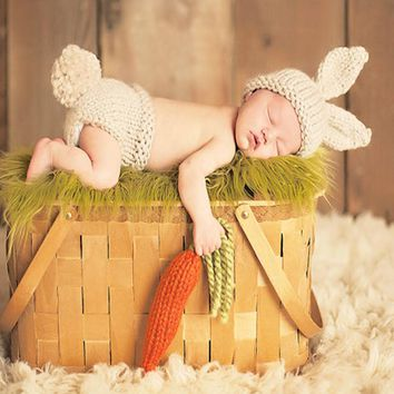 0-4M Newborn Baby Girls Boys Crochet Knit Costume Photo Photography Prop #LD789