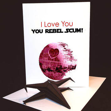 Origami - Funny Unique Wedding Gift For Groom From Bride. Groomsman Greeting Card, Handmade Card With Origami Star Wars Xwing Fighter.