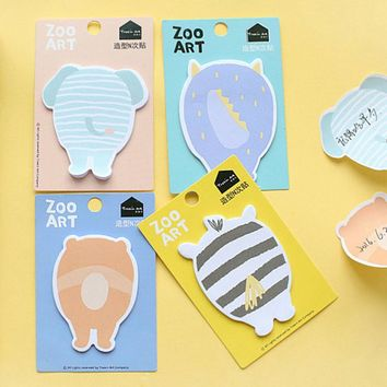 4 pcs/lot Personality cartoon animals zoo art ememo pad paper sticky notes post it notepad stationery papeleria school supplies