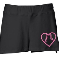 Juniors Black Softball Heart Shorts S-XXL