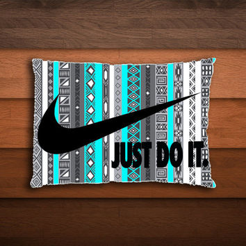 Nike Just Do It on Aztec Mint Pattern - One Side - Two side pillow cover case - printing on the front and on the back.
