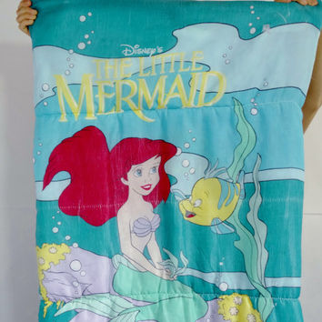 vintage Little Mermaid sleeping bag - vintage retro 80s 1980s - Disney Ariel Flounder Sebastian - kids children girls