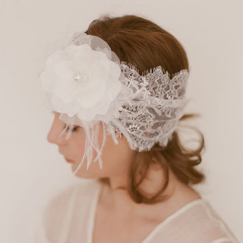 Deco Headwrap Organza Fasconator Chantilly by EricaElizabethDesign