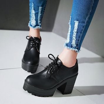 Lace Up PU Leather Women Pumps Platform High Heels Thick Heeled Shoes Woman