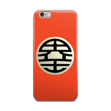 King Kai's kanji 界王 Kaiō World King Dragon Ball Z DBZ Logo Orange iPhone 4 4s 5 5s 5C 6 6s 6 Plus 6s Plus 7 & 7 Plus Case
