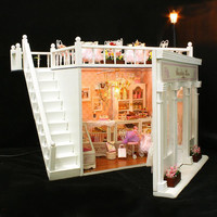Home Decoration Crafts DIY Doll House Wooden Doll Houses Miniature DIY dollhouse Furniture Kit Room LED Lights Gift X006