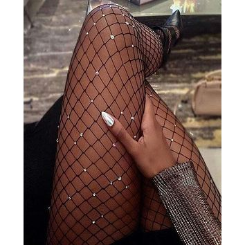 Summer Trending Women Stylish Sexy Fishnet Tights Net Heart Type Crystal Diamond Bling Hosiery Body Stocking Pantyhose