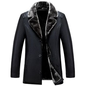 Long Turn Down Collar Winter Leather Coat Men