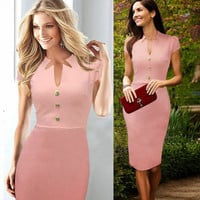 Women summer pink Dresses for plus size business Pinup Wear To Work Shift Buttons Tunic Bodycon Pencil office Dress
