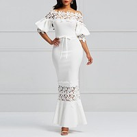 Elegant Long Dress Women White Lace Slash Neck Mermaid Dresses Sexy Hollow Lace-Up Bodycon Party Maxi Dresses
