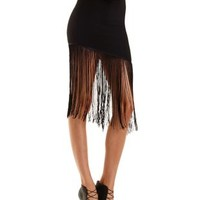 Black Asymmetrical Fringe Skirt by Charlotte Russe