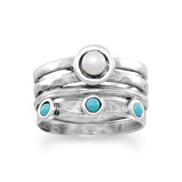 Sterling Silver Freshwater Pearl and Turquoise Ring